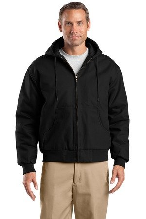 Cornerstone Hooded Work Jacket - Cornerstone J763H Duck Cloth Hooded Work Jacket - Black - 6XL