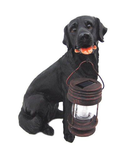 black lab statue with solar lantern
