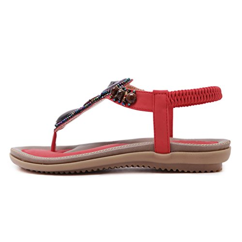 BalaMasa Womens Non-Marking Cold Lining Studded Urethane Flats Sandals ASL05153 Red Tx0CNgG