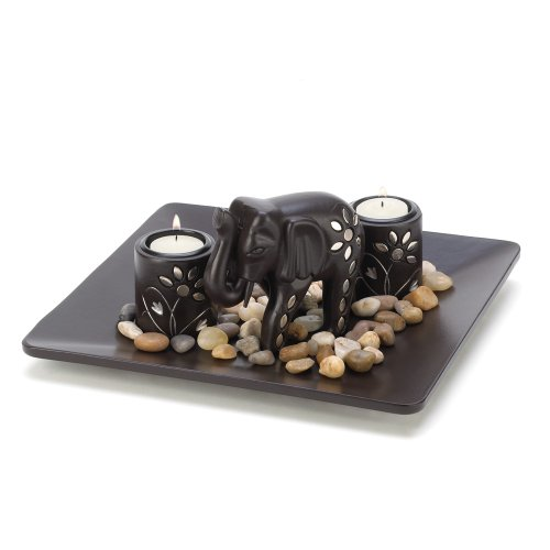 Elephant Figure Tealight Candleholder Plate Light -