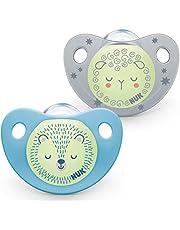 NUK Trendline nattnapp   0–6 månader   napp med ljuseffekt   BPA-fri silikon   blå   2 stycken