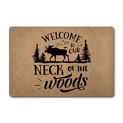 ZQH The Front DoorDoor Mats Welcome to Our Neck of The Wood Doormat Hello Monogram Door Mats (23.6 X 15.7 in) Non-Woven Fabric Top with a Anti-Slip Rubber Back Door Rugs Indoor Doormat