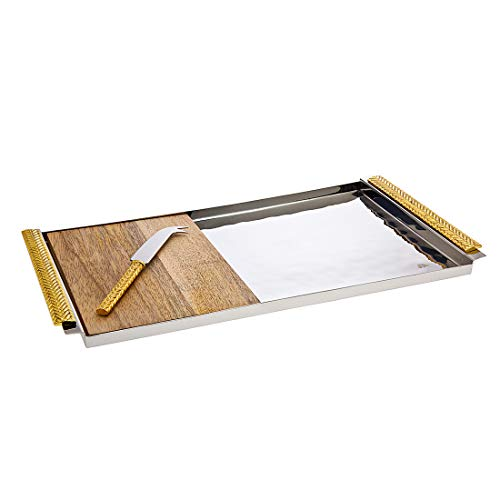 Cheese and Cracker Hammered Serving Tray with Wood Insert and Knife Herringbone by Godinger