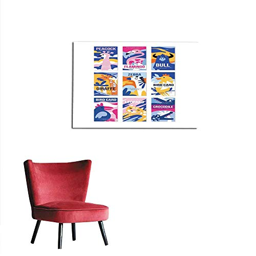 mural decoration Birds and animals poster set design element with peacock flamingo bull giraffe zebra leopard crocodile can be used for banner greeting card birthday party invitation vemural 36
