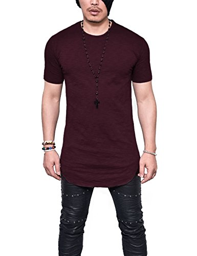 e80a952ed6064 LIWEIKE Mens Solid Extended Hipster Hip Hop Swag Curve Hem Long Sleeve T  Shirt (Wine