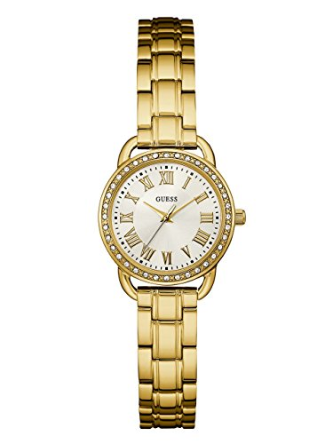 Guess Women's U0837L2 Dressy Gold-Tone Watch with White Dial, Crystal-Accented Bezel and Stainless Steel Pilot Buckle (Polished Dial White)