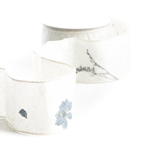 10 Yards of Wired Pale Blue Organza Ribbon with Dried Pressed Flowers Throughout for Crafting, Creating and Embellishing (Wired Organza Ribbon Blue)