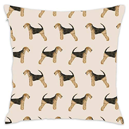 (Airedale Terrier Dog Pattern Dog Breed Customized Pet Portrait by Square Throw Pillow Cover Soft Cotton for Bedroom, Living Room, Sofa, Couch & Bed (18x18 inch))