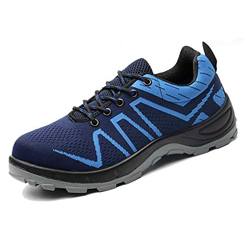 SUADEX Steel Toe Shoes Men, Indestructible Work Shoes Breathable Industrial Construction Non Slip Puncture Proof Composite Safety Toe Shoes Blue 001 Size 9 Women/7.5 - Safety Steel Boots Blue
