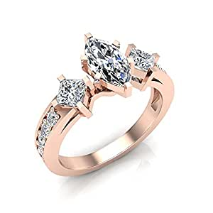 1.40 ct tw Princess Cut & Marquise center Diamond Engagement Ring 18K Rose Gold (Ring Size 6.5)