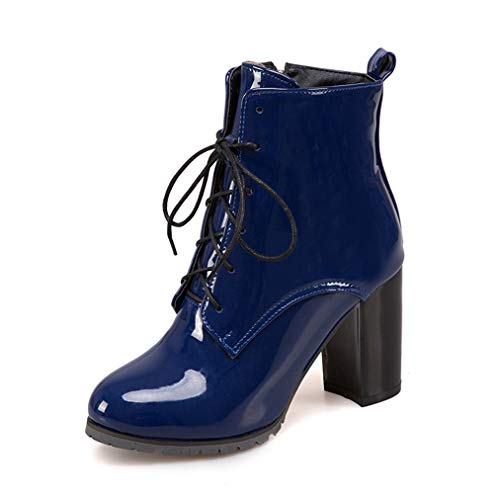 JOYBI Women Chunky High Heel Ankle Boot PU Leather Zip Lace Up Slip On Round Toe Waterproof Short Boots Blue