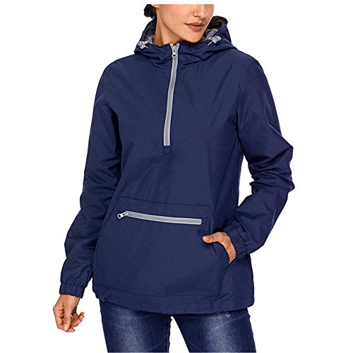 Zip Front Windbreaker - Lrud Women's Raincoat Active Outdoor Waterproof Rain Jacket Hooded Windbreaker Navy-Blue M
