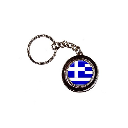 (Graphics and More Greece Greek Flag Spinning Round Metal Key Chain Keychain Ring)
