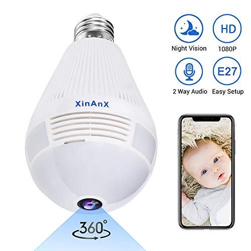 Best Buy! 1080P Smart Bulb Security Camera, 360 Degree Panoramic 2.4G WiFi Camera Indoor/Outdoor Wir...