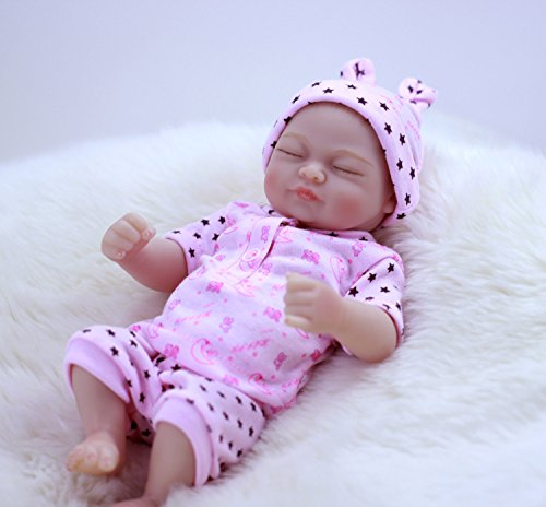 Pursue Baby Cute Washable Full Body Silicone Vinyl Real Life Reborn Baby Girl Doll with Hair Anatomically Correct Ala, 10 Inch Lifelike Newborn Baby Preemie Doll for Kids
