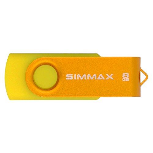 SIMMAX 5Pcs 8GB USB Flash Drive USB 2.0 Flash Drive Memory Stick Fold Storage Thumb Stick Pen Swivel Design (Five Mixed Colors: Black Blue Green Gold Rose)(Mix Color2)