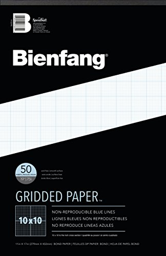 Bienfang Designer Grid Paper, 50 Sheets, 11 by 17 Pad, 10 by 10 Cross Section ()