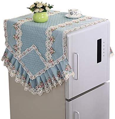 [JPバレンタインデー]冷蔵庫ダストカバー 冷蔵庫カバー 洗濯機カバー 汚れ防止カバー 冷蔵庫タオル 冷蔵庫アクセサリー 新品 レース 装飾品 防塵 防水 ほこり防止 上品 (ブルー,L)