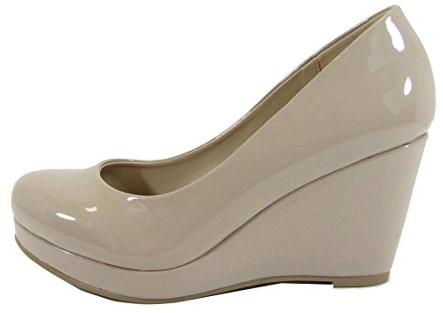 City Classified Womens Slip On Round Toe Comfy Padded Insole Wedge Heel Pump Dark Beige Patent g8fXQa53