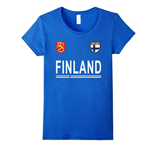 Womens Finland Soccer T-Shirt - Finnish, Finn Retro Football Jersey Large Royal