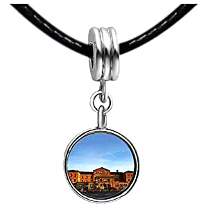 Chicforest Silver Plated Travel Bamberg train station Photo Sapphire Crystal September Birthstone Flower dangle Charm Beads Fits Pandora Charms
