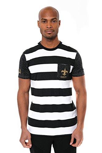 NFL Men's New Orleans Saints T-Shirt Stripe Pocket Short Sleeve Tee Shirt, Medium, Black