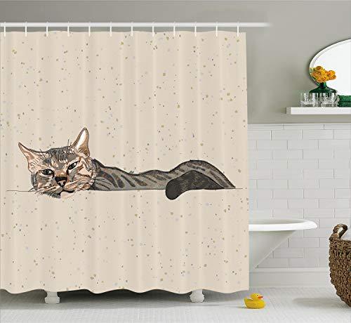 (Ambesonne Cat Shower Curtain, Lazy Sleepy Cat in Earth Tones Furry Mascot Indoor Pet Art Illustration, Cloth Fabric Bathroom Decor Set with Hooks, 70