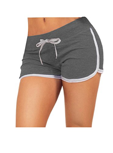 Little Beauty Yoga Running Workout Sexy Booty Shorts for Women Grey M