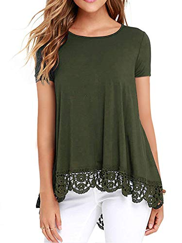 UUANG Women's Short Sleeve Floral Print Lace Trim High Low T-Shirt Top (Army Green,L)