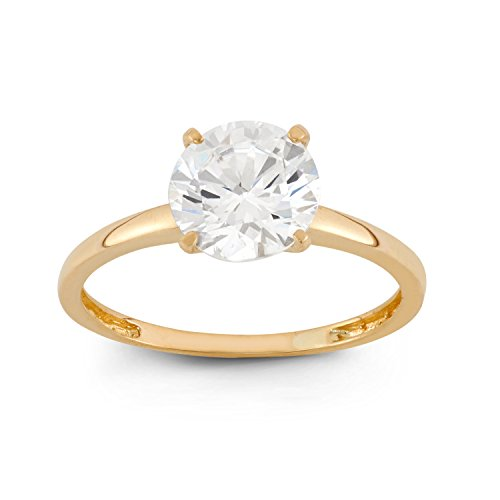 Celebration Moments 10K Yellow Gold Round 2CT Swarovski CZ Solitaire Ring - Size 8 ()