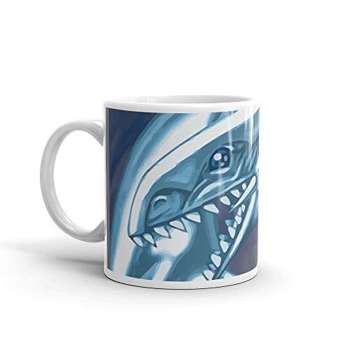 Blue eyes white dragon 11 Oz White Ceramic (Graphite Dragon)