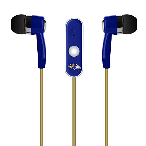 NFL Baltimore Ravens Hands Free Ear Buds with Microphone by Mizco