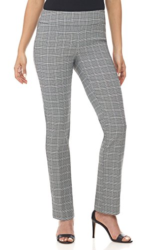 in to Comfort Straight Leg Pant with Tummy Control (6,Black/White Glencheck) ()