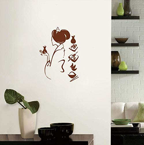 Dalxsh Japanese Girl with Traditional Food Vinyl Wall Decal Stickers for Japanese Kitchen/Dinning Room Decor 55X40Cm ()