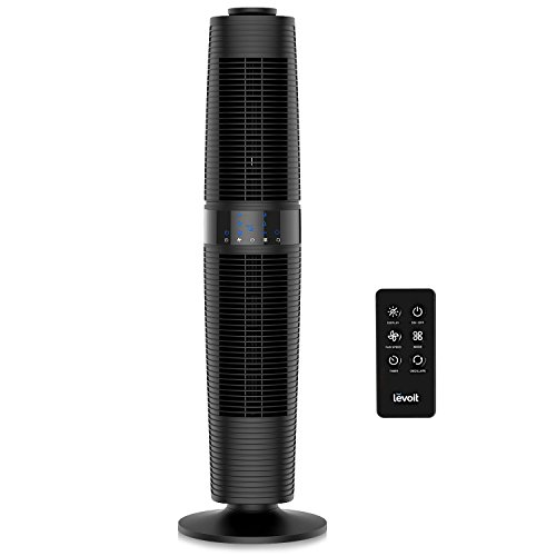 (LEVOIT LV373 Tower Fan Oscillating with Remote Control, Standing Floor with 3 Speeds and Modes, 360° Manual Oscillation for Cooling, Automatic Shutoff Timer, Quiet and Energy Saving, 37 Inch, Black)