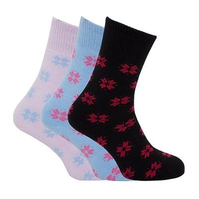 Ladies/Womens Brushed Inside Thermal Socks, Snowflake Design (Pack Of 3)
