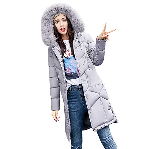 HOMEBABY Women Winter Long Cotton-Padded Jackets Coats,Ladies Thick Faux Fur Hooded Parka Quilted Padded Winter Lightweight Trench Long Sleeve Tops Cardigan Outwear Overcoat Gray