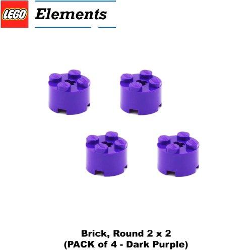 Lego Parts: Brick, Round 2 x 2 (PACK of 4 - Dark Purple) (Lego Friends Emma Design Studio)