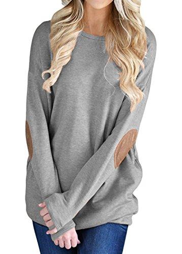 Sweatshirt Crewneck Lightweight (Shawhuwa Womens Casual Long Sleeve Crewneck Sweatshirt Blouses Tops XXL Grey)