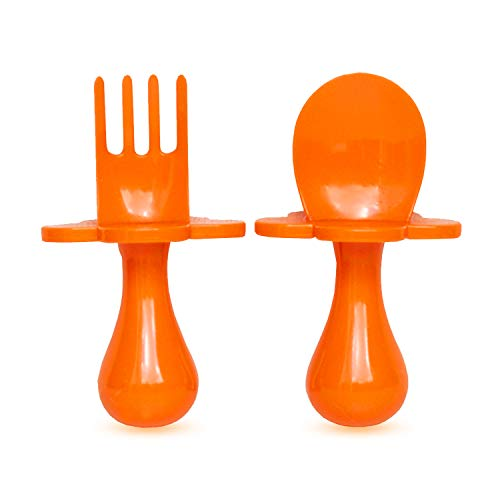 grabease First Training Self Feeding Utensil Set of Spoon and Fork for Toddler and Baby. BPA Free. to-go Pouch (Orange)