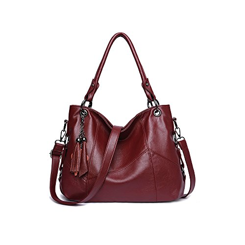 Women Purses and Handbags,JAYLINNA Ladies Shoulder Bag Top Handle Satchel Tote Purse with Tassel(Wine) by JAYLINNA