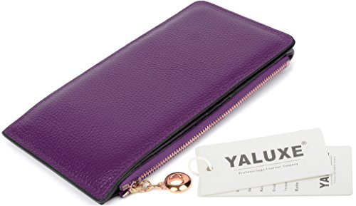 YALUXE Women's RFID Blocking Genuine Leather Multi Card Organizer Wallet with Zipper Pocket RFID Blocking Purple by YALUXE (Image #7)