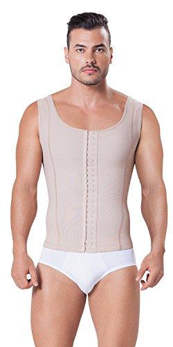 Fajitex Compression Garments Fajas Colombianas Para Hombre Bodysuit Shapewear Shirt Girdle for Men Shaper Liposuction (XXX-Large, Beige) by Fajitex