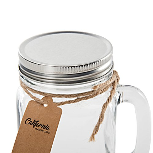 6 Pack - Vintage Mason Jar Mugs with Chalkboard Labels and Tin Lids, Mason Mugs with Handles for Weddings, Candle Jars, Party Favors, 16oz, by California Home Goods by California Home Goods (Image #4)