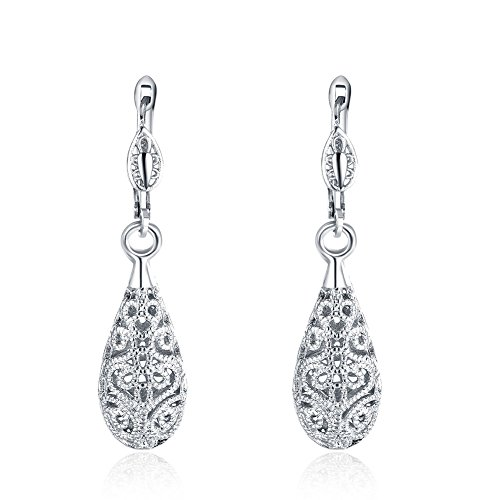 Naivo 18K Gold Plated Bohemian Filigree Teardrop Leverback Earrings - 3 Colors (White Gold)