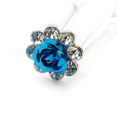 feste e balli-Set di 6 cristalli austriaci Bridal//matrimoni In argento colore: Blu foglia di spille per capelli a forma di fiore