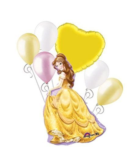 7 pc Belle Disney Princess Balloon Bouquet Happy Birthday Beauty & the Beast -
