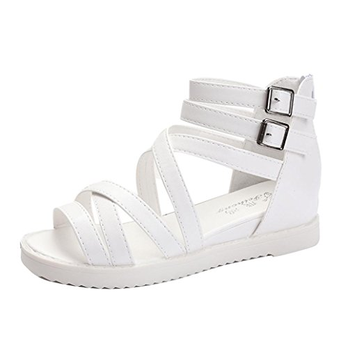 FEITONG De las mujeres Sandalias de verano Zapatos Peep toe Bajo Zapatos Sandalias romanas Señoras Dar la vuelta Flops Sandalias Blanco