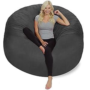 Chill Sack Bean Bag Chair: Giant 6' Memory Foam Furniture Bean Bag - Big Sofa with Soft Micro Fiber Cover - Charcoal