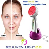 Rejuven Light 2.0 LED Light therapy w/ 4 Interchangeable heads Anti aging device, skin rejuvenation, lightens dark spots, promotes collagen and reduce wrinkles and fine lines (Rejuven Light)